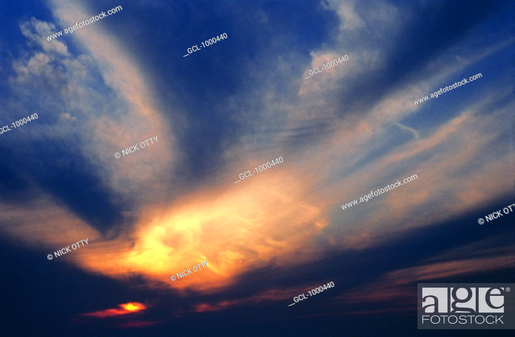 Stock Photo: Dramatic sky at sunset.