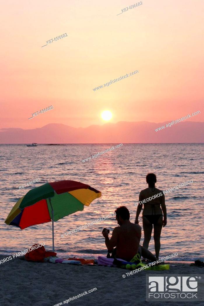 Stock Photo: Sunset at Kalogeras beach, Elafonissos island, Greece.