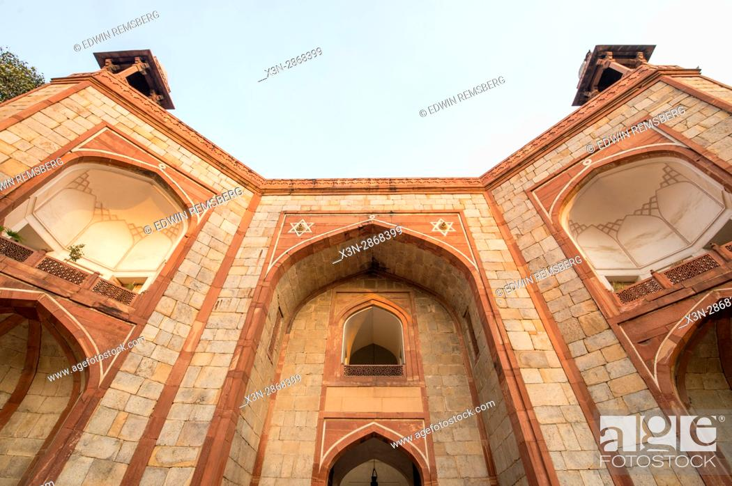 Stock Photo: The architectural details of a monument structure next to the Qutub Minar, located in New Delhi, India.