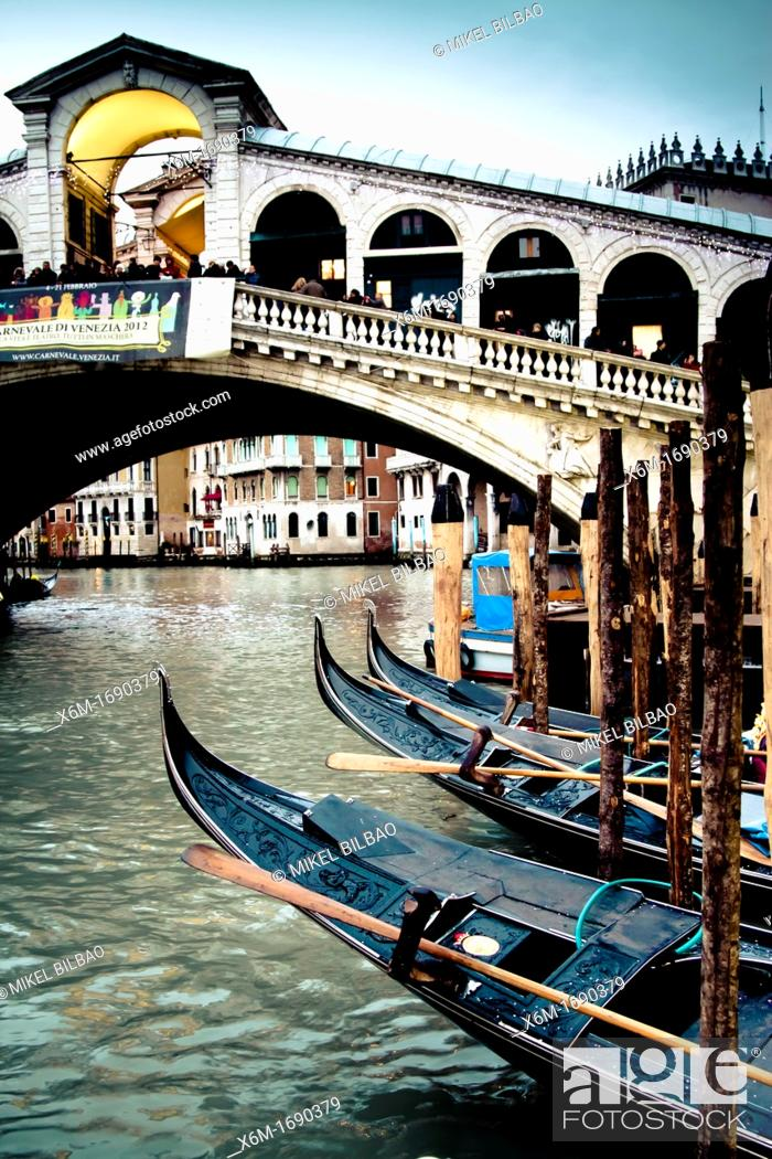 Stock Photo: grand canal and gondolas  Venice, Italy.