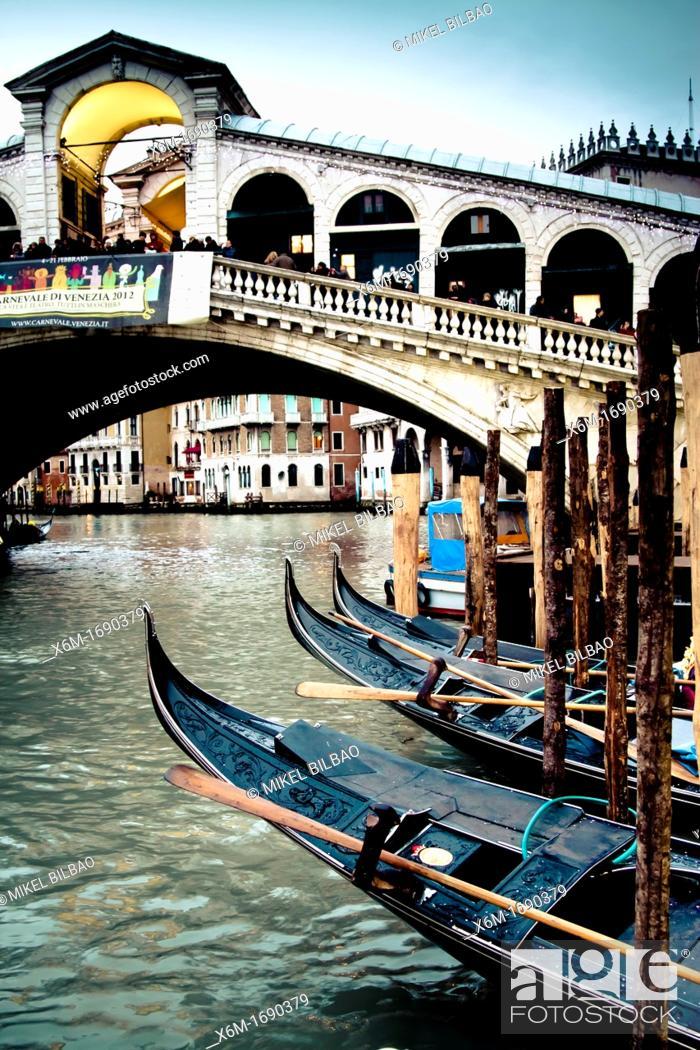 Stock Photo: grand canal and gondolas  Venice, Italy.