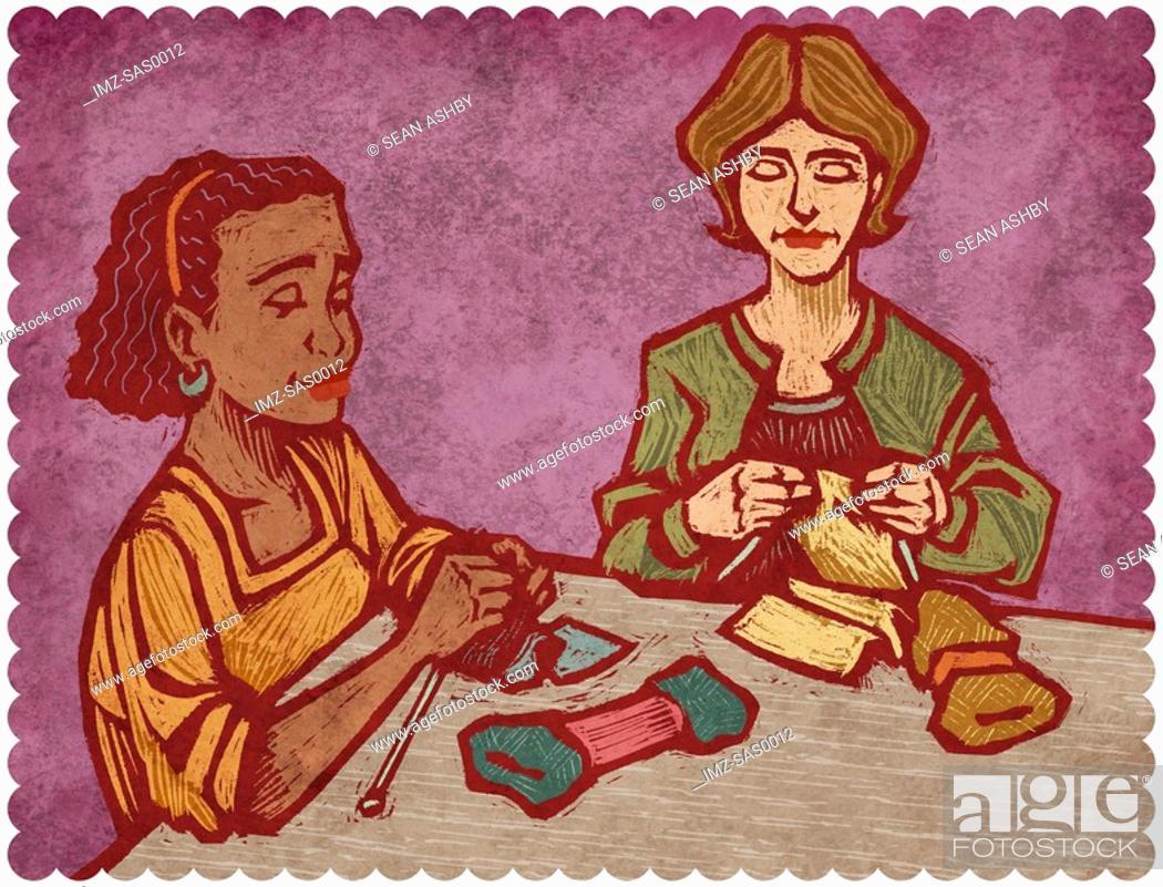 Stock Photo: Two women knitting.
