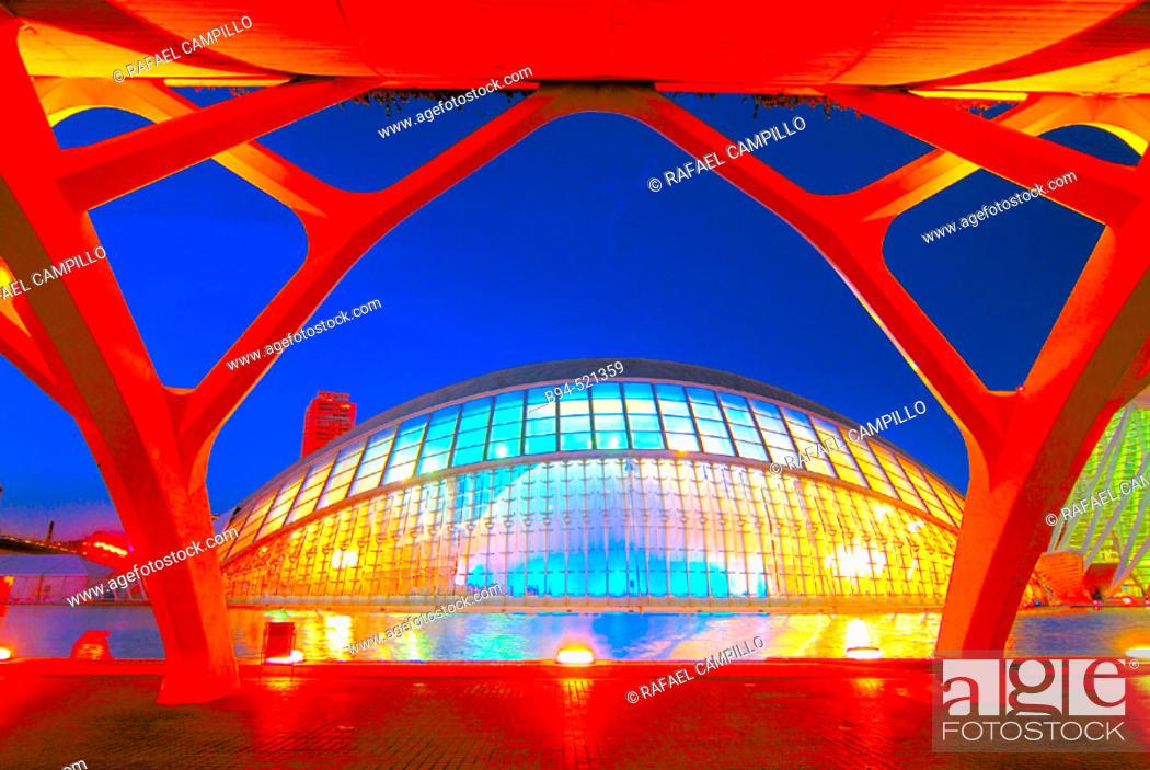 Stock Photo: City of Arts and Sciences, by S. Calatrava. Valencia. Spain.