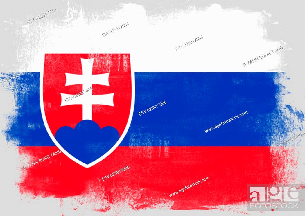 Imagen: Flag of Slovakia painted with brush on solid background,.