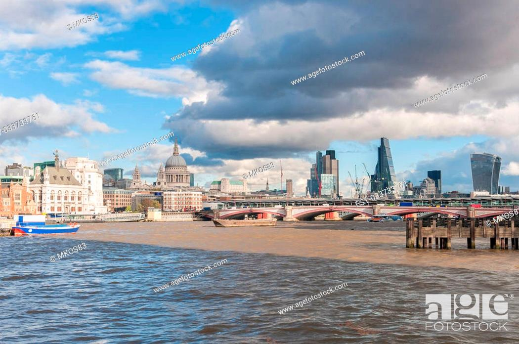 Stock Photo: Beautiful cityscape of London with River Thames and St Paul Cathedral.