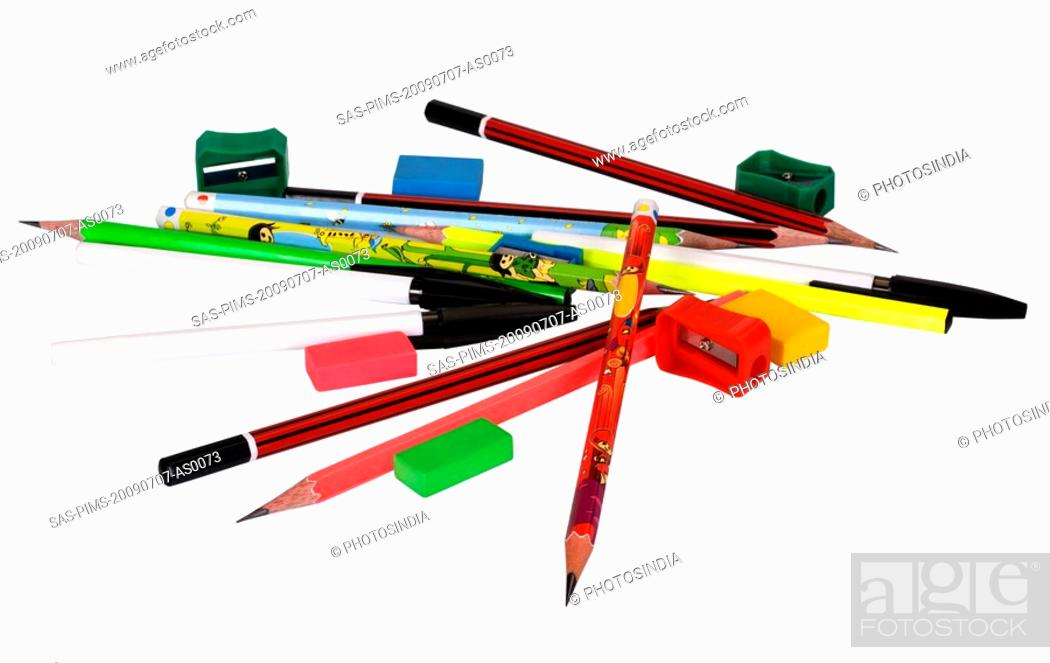 Stock Photo: Close-up of assorted stationery items.
