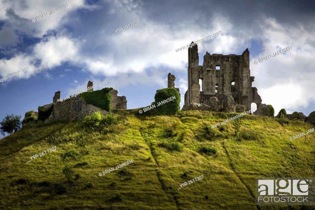 Stock Photo: Ruins of Corfe Castle near Wareham, , Isle of Purbeck, Dorset, England.