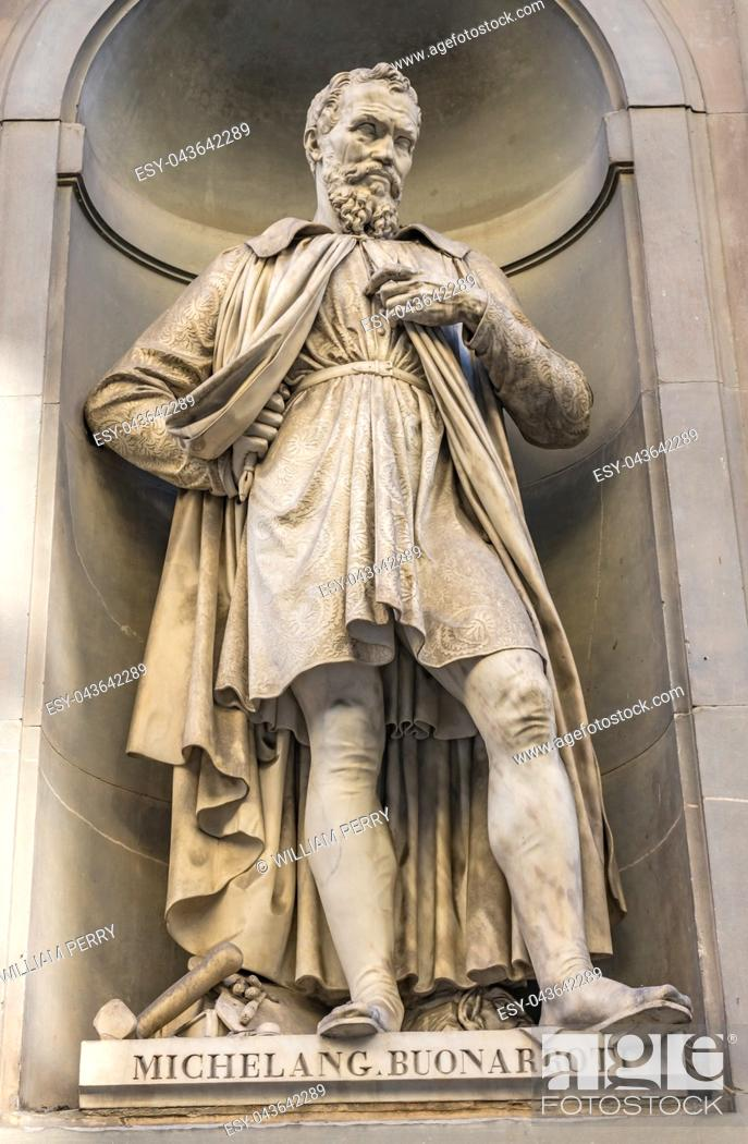 Stock Photo: Michelangelo Italian Sculptor Statue Famous Florentine Uffizi Gallery Florence Italy. Statue by Emilio Santarelli in 1840.