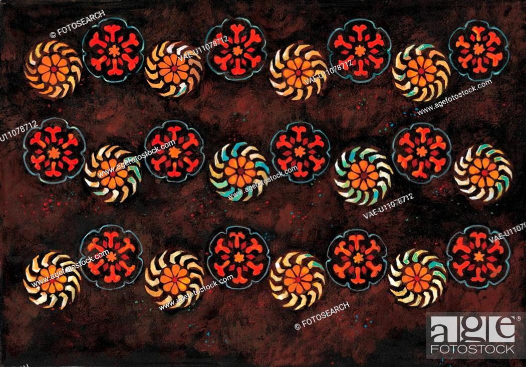 Stock Photo: plant pattern, Orientalpainting, design, flower, pattern, nature, tradition.