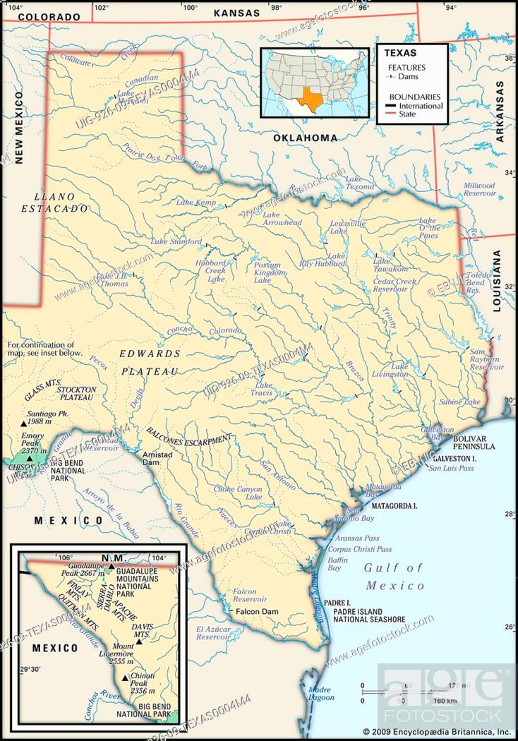 Map Of Texas Mountain Ranges.Physical Map Of The State Of Texas Showing Dams Mountain Ranges And