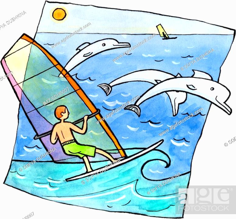 Stock Photo: Windsurfers and dolphins in the ocean.