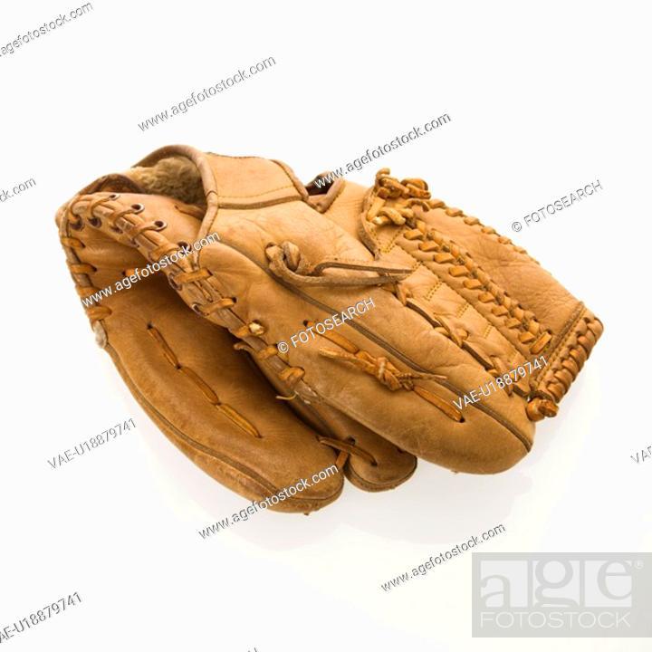 Stock Photo: Baseball glove on white.