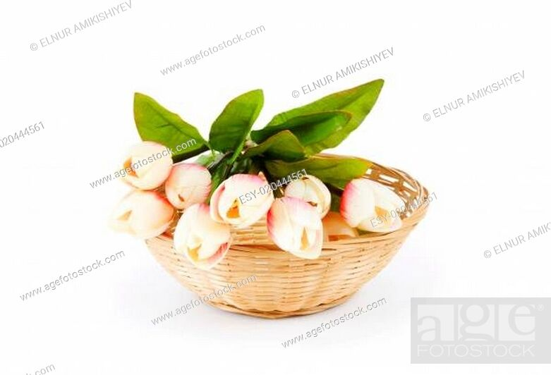 Stock Photo: Bouquet of colorful tulips on the table.