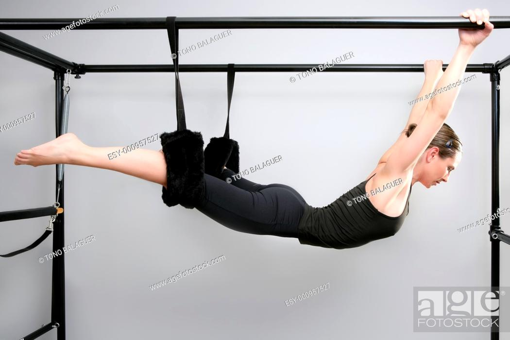 Stock Photo: cadillac pilates sport woman gym instructor fitness exercise.