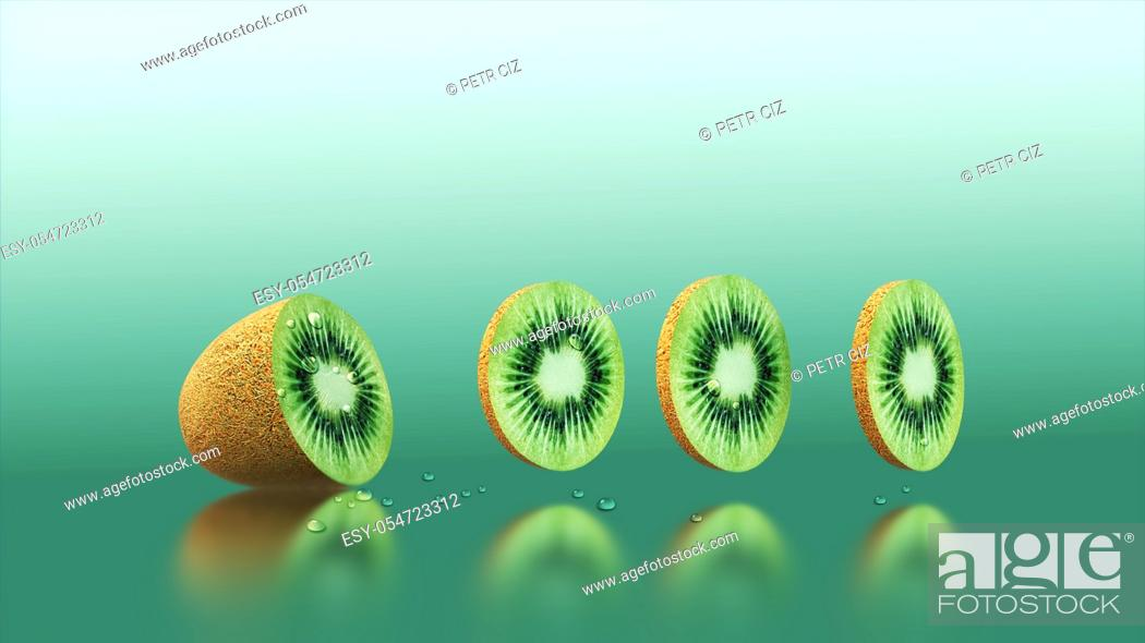 Stock Photo: Fresh sliced kiwi fruit with drops of water.