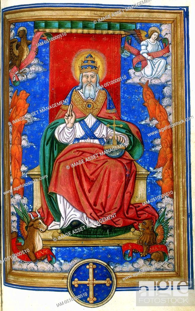 God The Father 1545 God Enthroned Hand Raised In Blessing At The