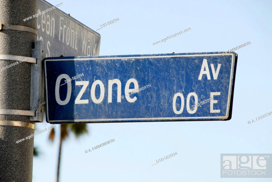 Stock Photo: Ozone Avenue street sign. Venice Beach. Los Angeles. California. USA.