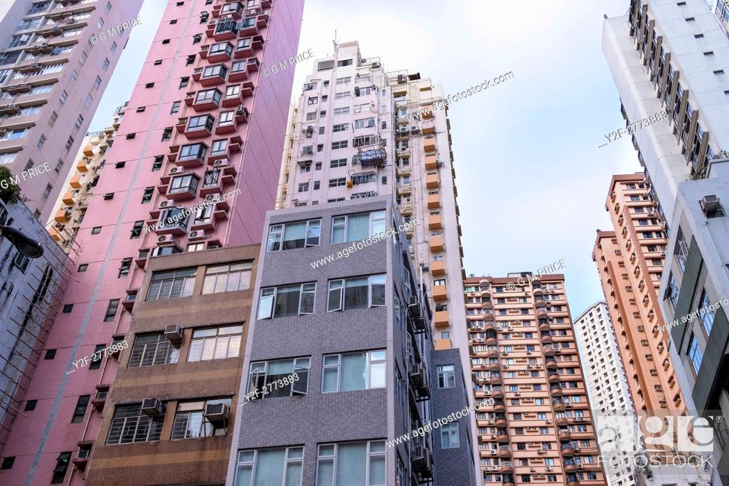 Stock Photo: looking up at apartment buildings, Happy Valley, Hong Kong.