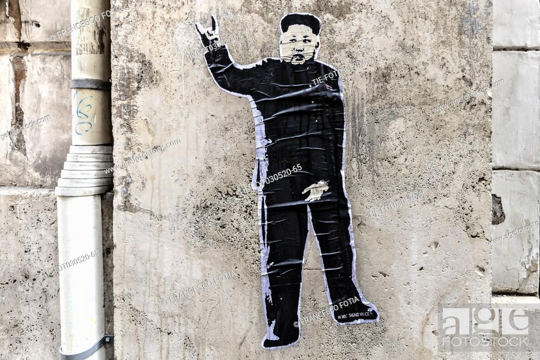 Stock Photo: 03/05/2020 Roma, Nuovo murale della street artist Laika sul presidente della Repubblica Popolare Democratica di Corea Kim Jong-un dopo le voci sulla sua.
