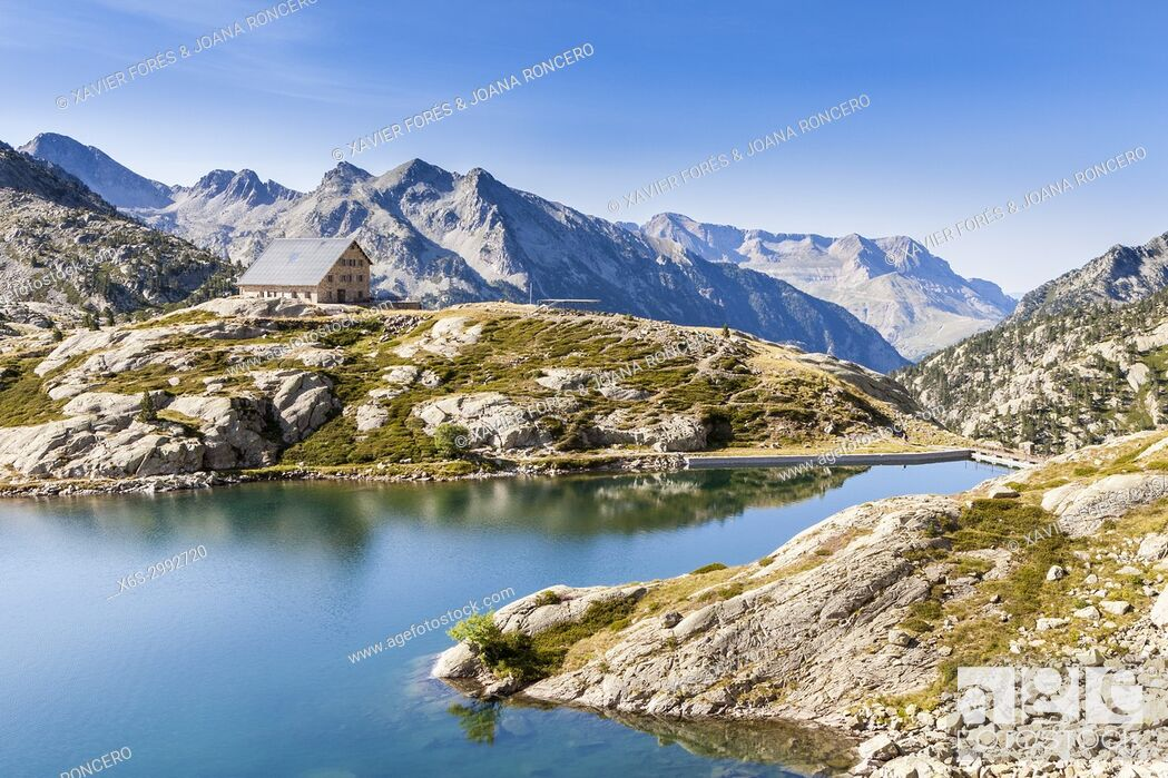 Stock Photo: Reservoir of Bachimaña, Baños de Panticosa, Pyrenees, Huesca, Spain.