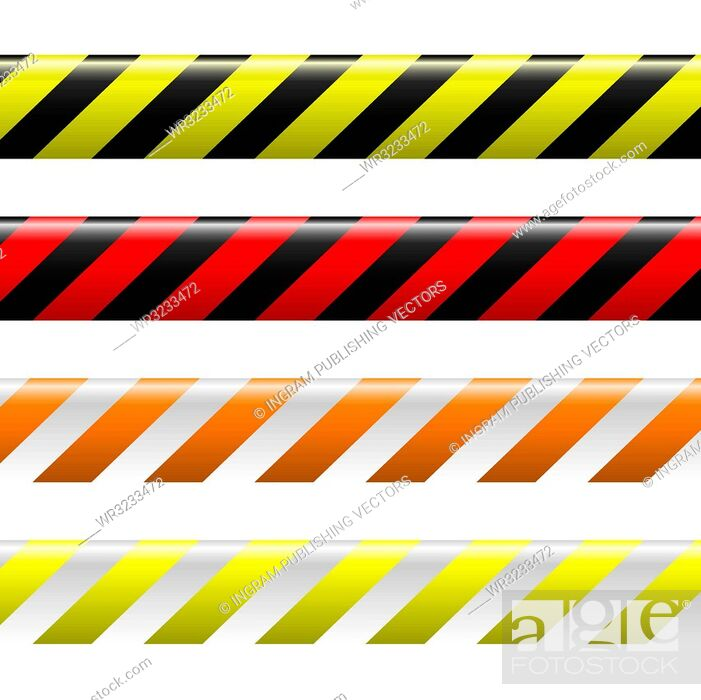Vector: collection of four warning tapes in different colours with stripes.