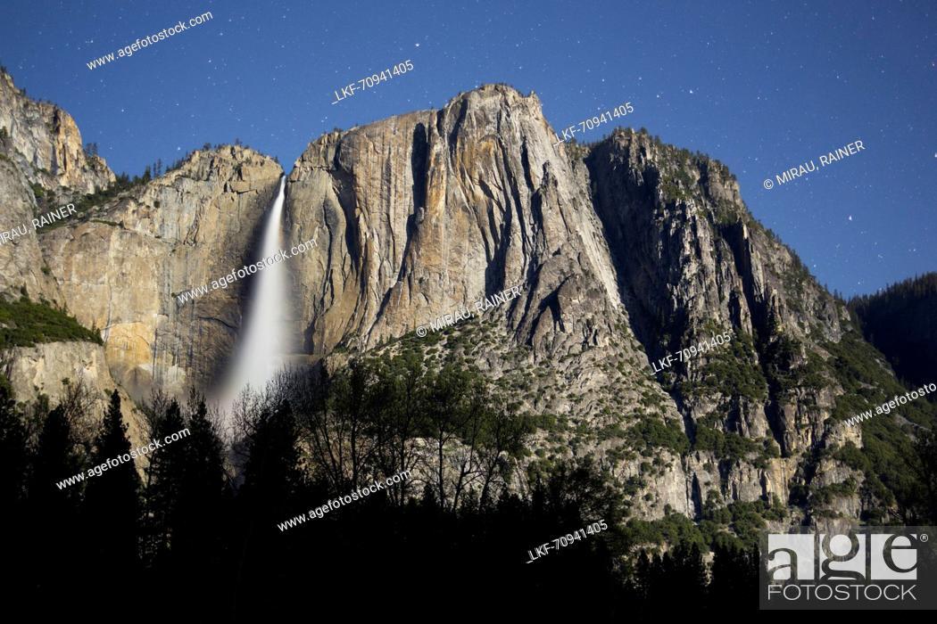 Stock Photo: Upper Yosemite Falls in Moonlight, Yosemite National Park, California, USA.