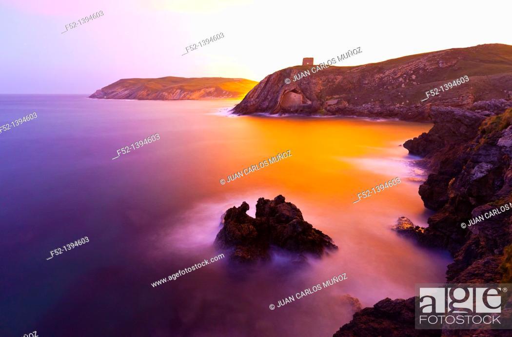 Stock Photo: Santa Justa beach, Ubiarco, Bay of Biscay, Cantabria, Spain, Europe.