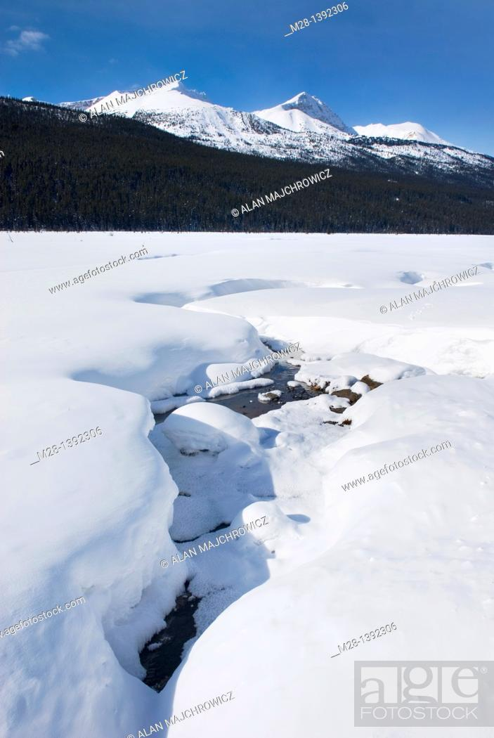 Stock Photo: Sunwapta River in winter, Jasper National Park Alberta Canada.