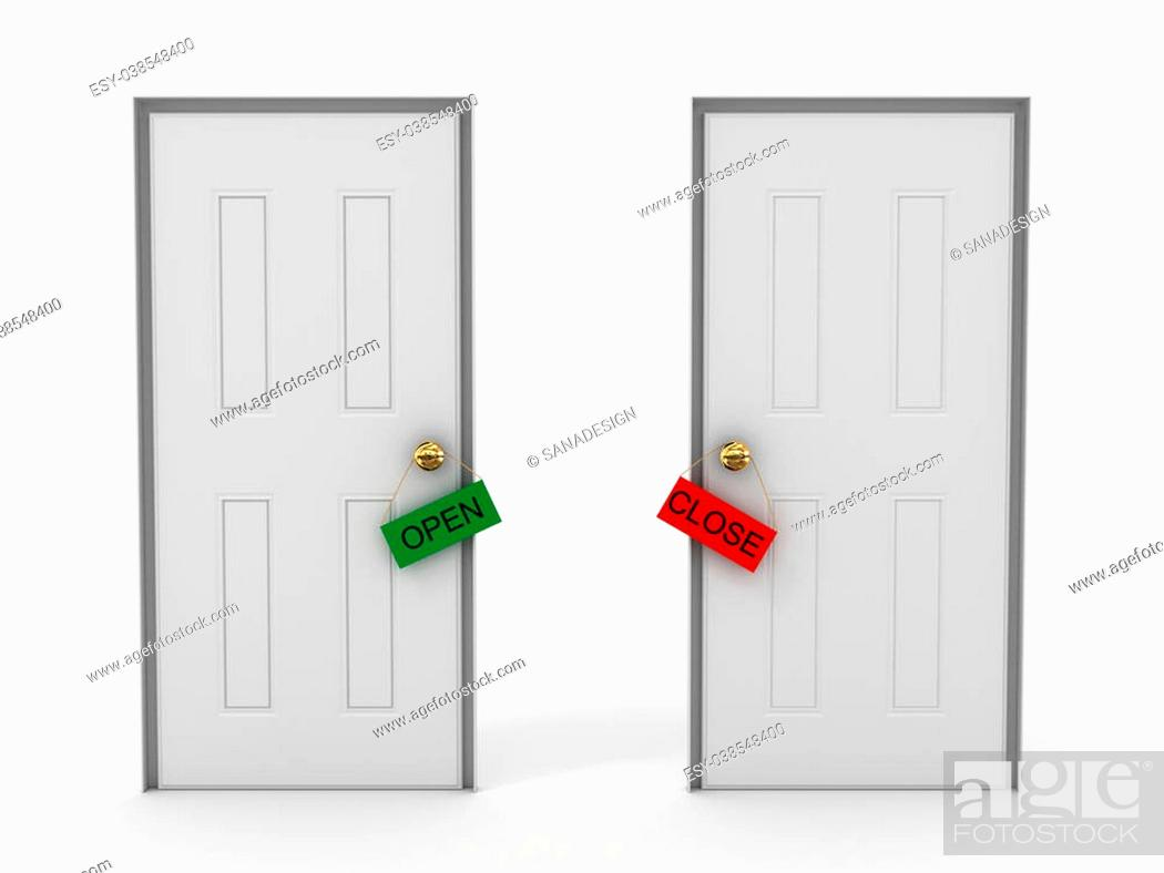 Photo de stock: Doors with tags open and close.3D.