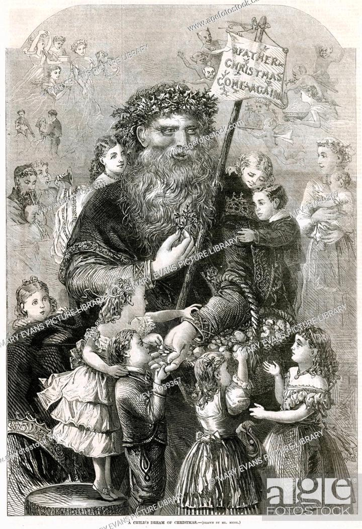 Christmas With Holly.Father Christmas With Holly Leaf Wreath Upon His Head And A
