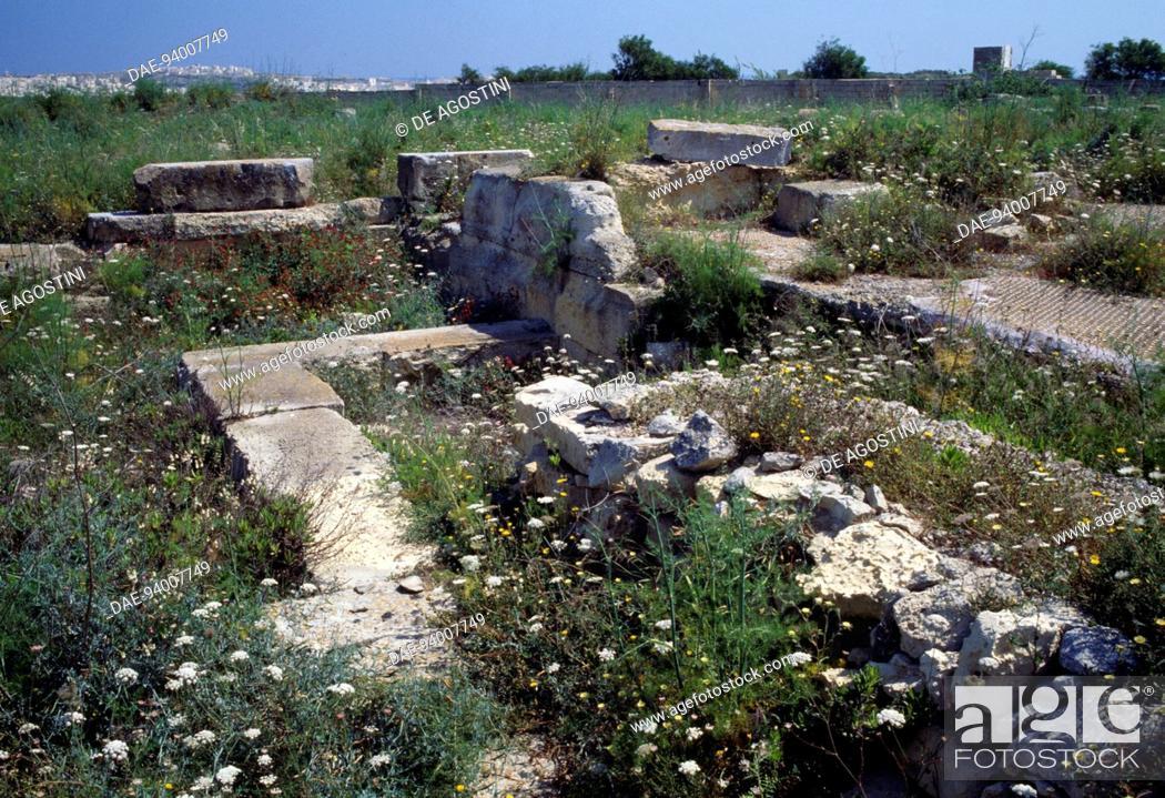 Stock Photo: Ruins of a Phoenician-Punic tophet (sanctuary), Tas-Silg archaeological site, Malta.