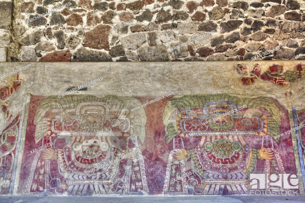 Stock Photo: Wall Mural of the Jade Goddess (or Thaloc), Palace of Tetitla, Teotihuacan Archaeological Zone, State of Mexico, Mexico.
