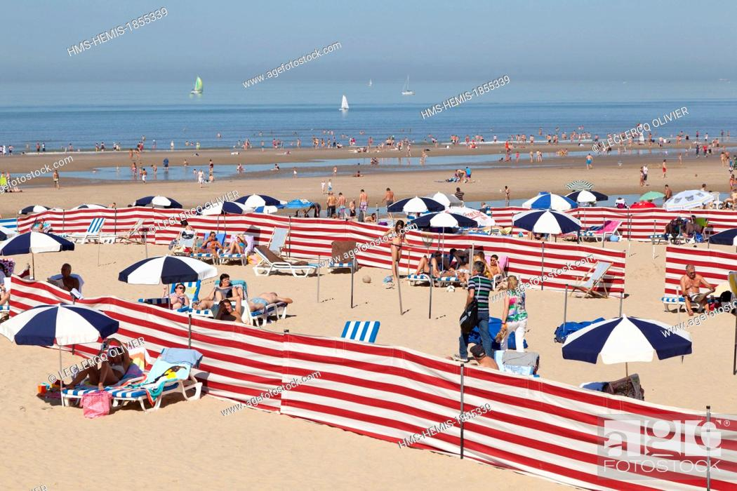 Stock Photo Belgium West Flanders De Haan Beach Huts Sun Loungers And Parasols For Hire On The