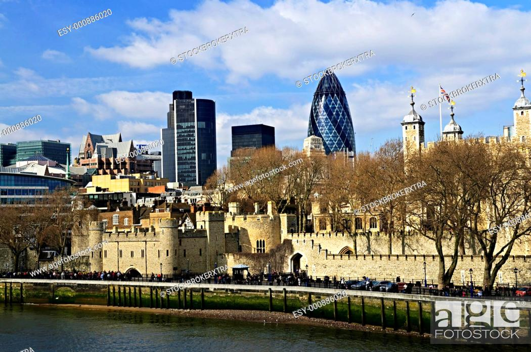 Stock Photo: Tower of London skyline view from Thames river.