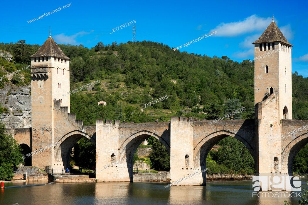Stock Photo: The medieval Pont Valentre over the River Lot, Cahors, The Lot, France.
