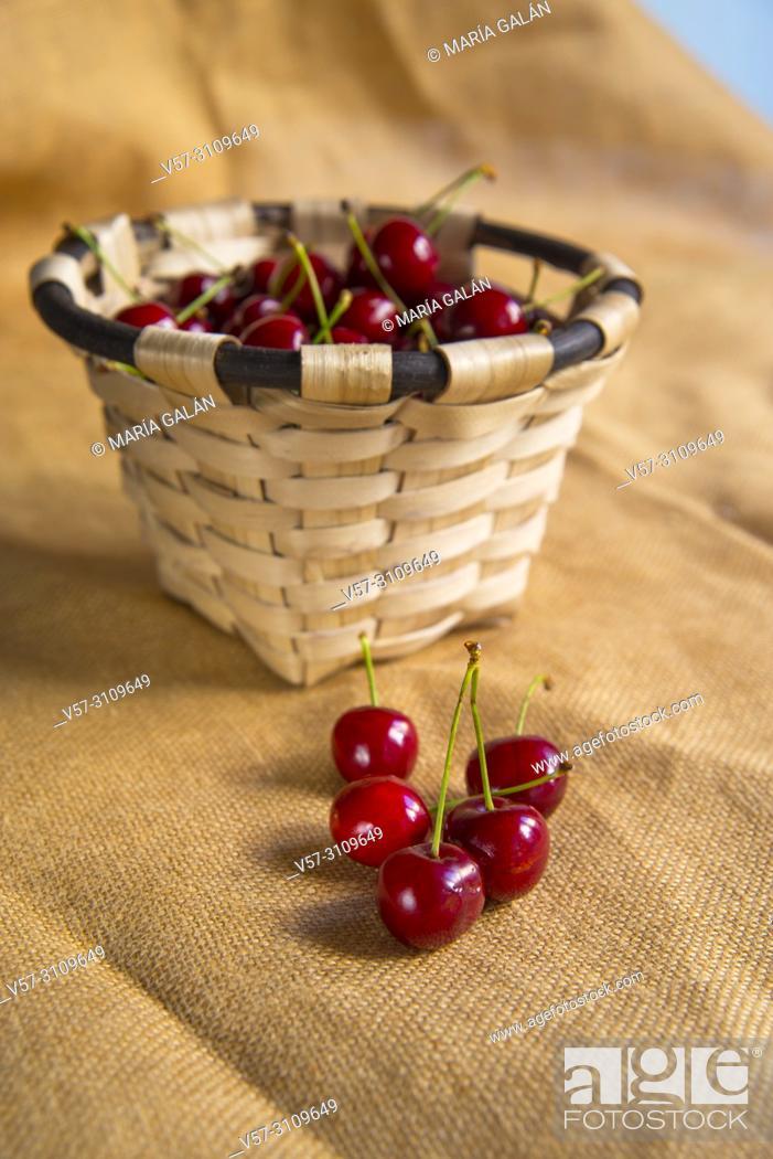 Stock Photo: Basket of cherries. Still life.
