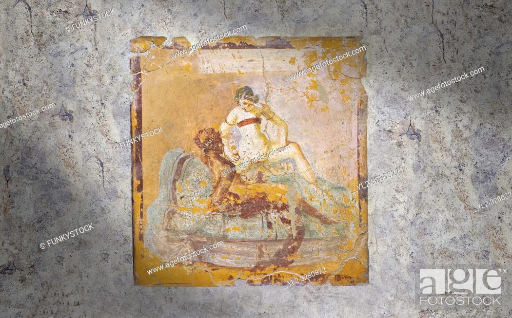 Stock Photo: Roman Erotic Fresco from Pompeii depicting a man & woman having sex Naples National Archaeological Museum - 1st century AD.