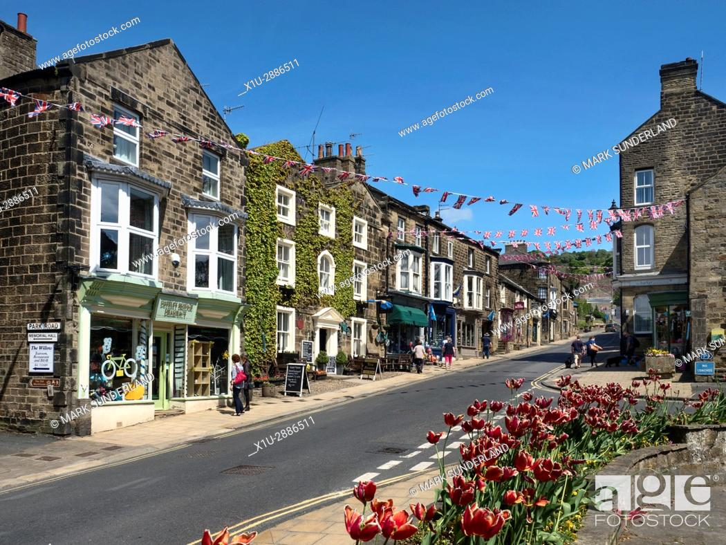 Stock Photo: Union Jack Bunting over the High Street at Pateley Bridge in Nidderdale, North Yorkshire, England.