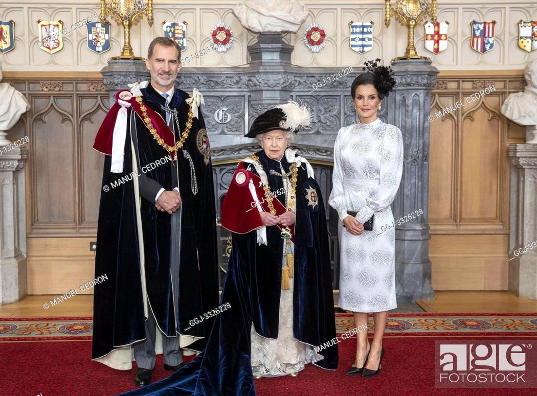 Stock Photo: King Felipe VI of Spain, Queen Elizabeth II of the United Kingdom of Great Britain and Northern Ireland, Queen Letizia of Spain attends Order of the Garter.