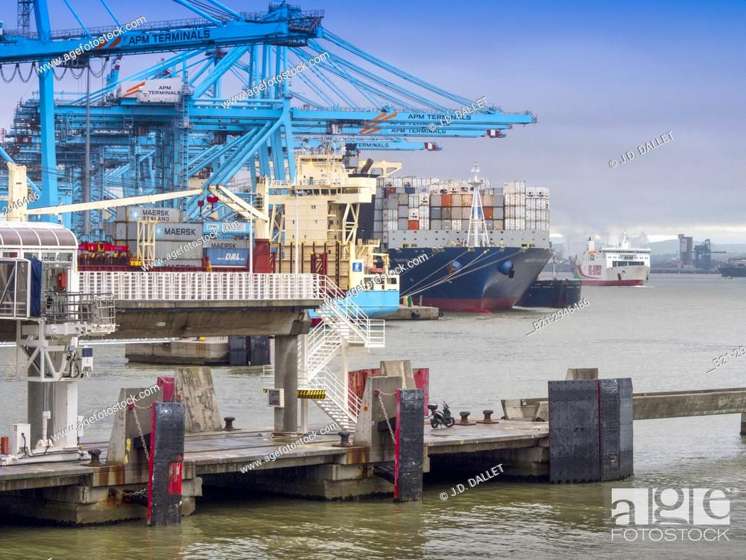 Stock Photo: Spain, Andalusia, Cadiz province, Algeciras harbour, Containership.