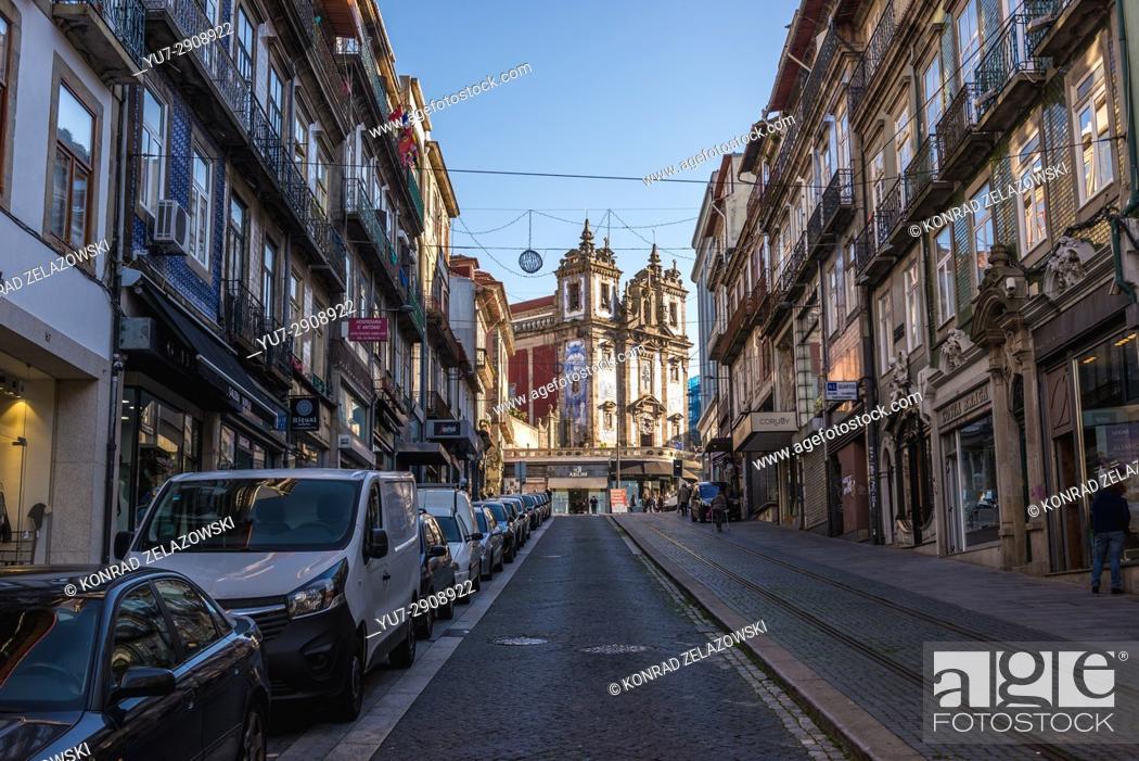 Stock Photo: View from Rua de 31 de Janeiro (January 31 Street) on Church of Saint Ildefonso of Toledo in Santo Ildefonso civil parish of Porto city, Portugal.