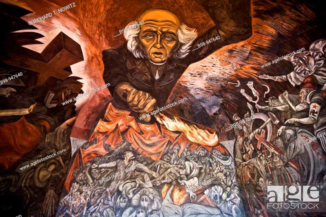 Guadalajara Jalsico Mexico Miguel Hidalgo Mural Painted By Jose