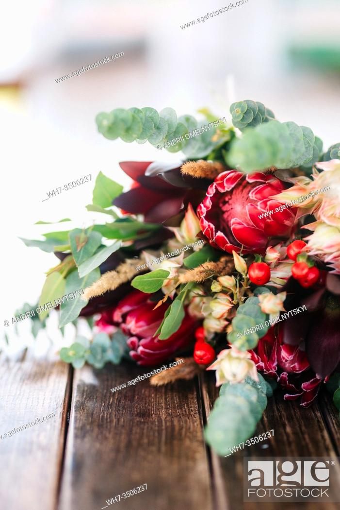 Stock Photo: elegant wedding bouquet of fresh natural flowers and greenery.