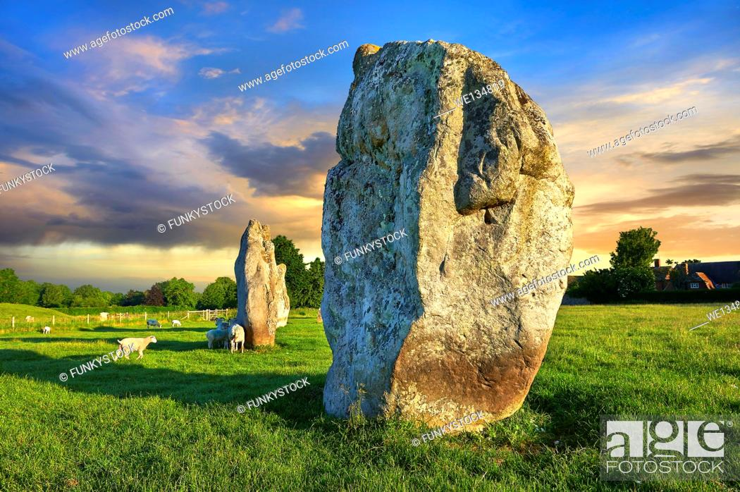 Stock Photo: Avebury Neolithic standing stone Circle the largest in England at sunset, Wiltshire, England, Europe.