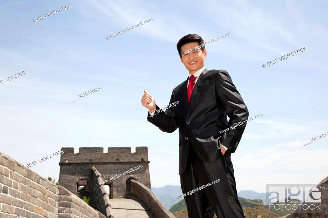 Stock Photo: Professional Men on the Great Wall.