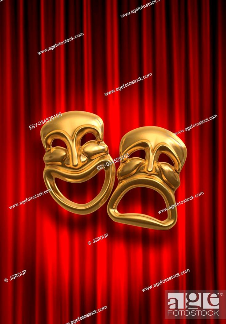 Photo de stock: Classical comedy-tragedy theater masks against a red theatre curtain.