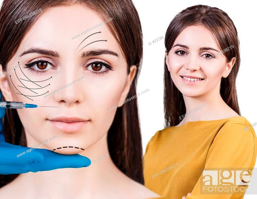 Stock Photo: Collage of beautiful woman gets beauty facial injections. Face aging injection. Isolated on white.