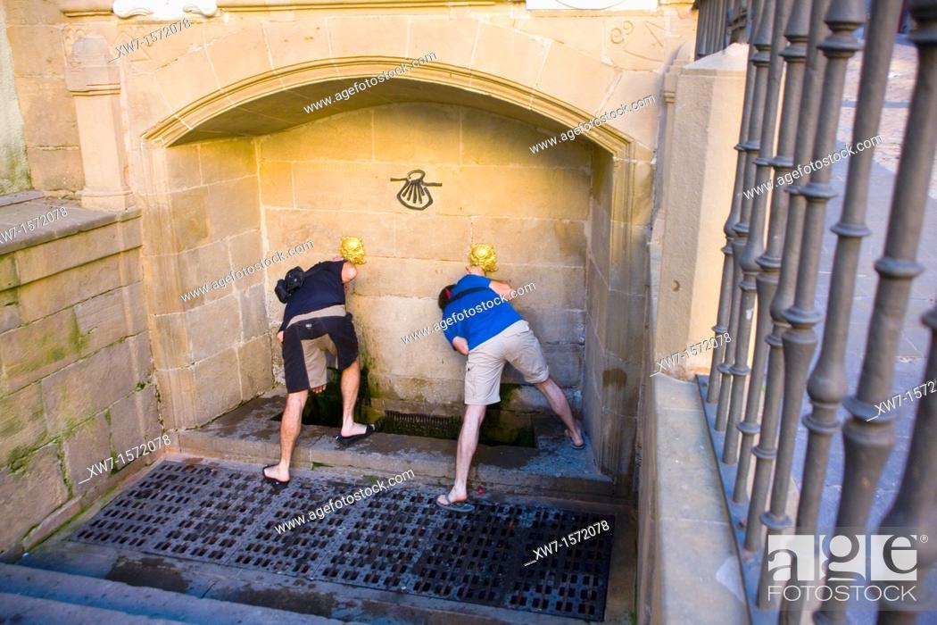 Stock Photo: Pilgrims drinking at the Pilgrims Fountain, Logroño, Way of St James, La Rioja, Spain.