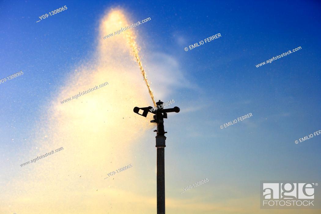 Stock Photo: Irrigation, LLeida Province, Spain.