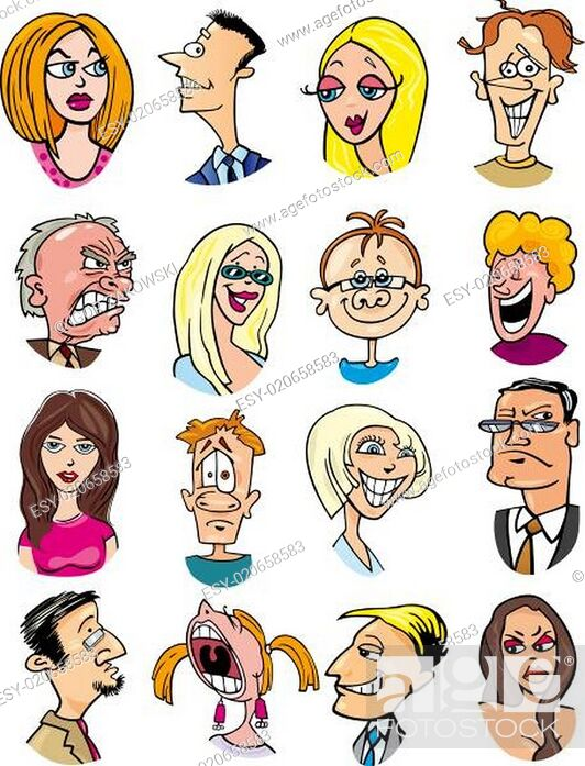 Stock Photo: cartoon people characters and emotions.